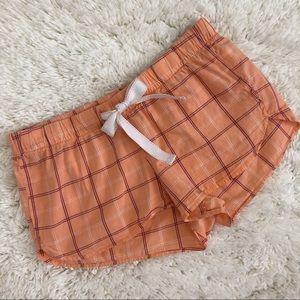 Old Navy Orange Plaid Dolphin Hem Pajama Shorts